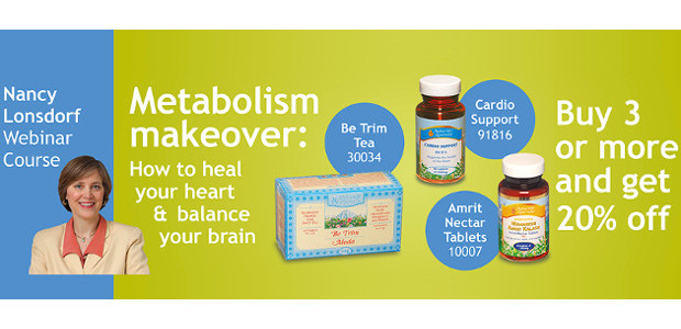MAHARISHI AYURVEDA Metabolism makeover: How to heal your heart & balance your brain! Nancy Lonsdorf Webinar Course & A Trio of products! Be Trim Tea! Cardio Support & Amrit Nectar […]
